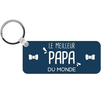 Porte-clés Meilleur Papa du monde - rectangle