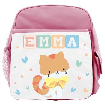 Sac à dos enfant Prénom chat - rose
