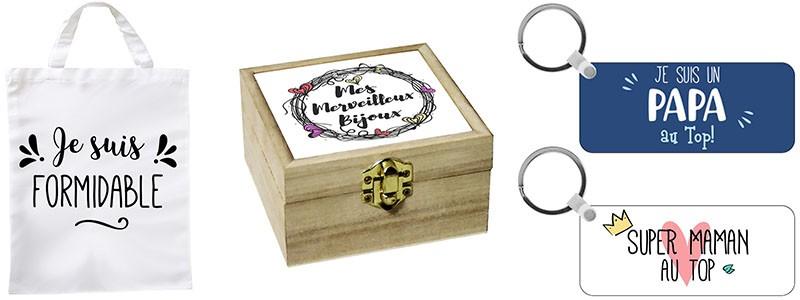 Boite à bijoux, porte-clés et sac de shopping personnalisé